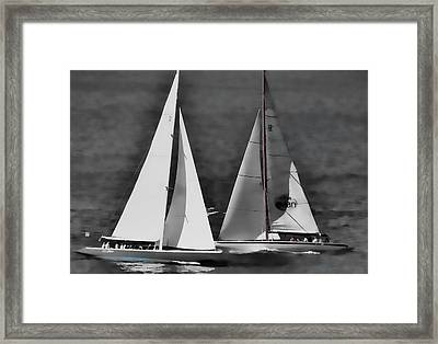 Framed Print featuring the photograph Racing At Sea by Pamela Blizzard