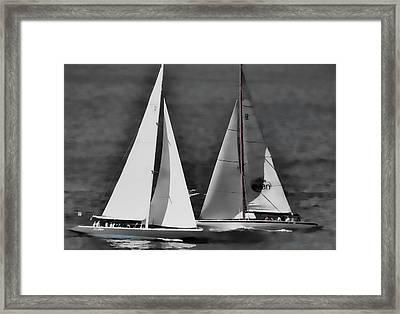 Racing At Sea Framed Print by Pamela Blizzard