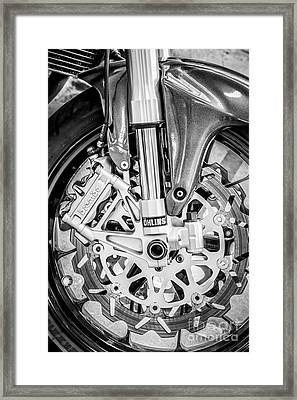 Racing Bike Wheel With Brembo Brakes And Ohlins Shock Absorbers - Black And White Framed Print