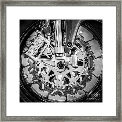 Racing Bike Wheel With Brembo Brakes And Ohlins Shock Absorbers - Square - Black And White Framed Print by Ian Monk