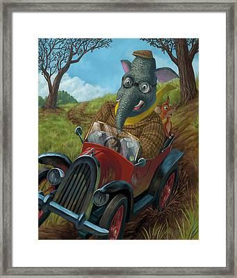 Racing Car Animals Framed Print