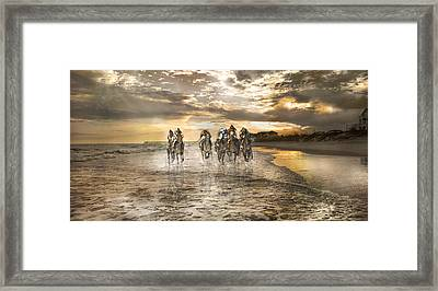 Racing Down The Stretch Framed Print by Betsy Knapp