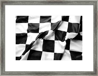 Racing Flag Framed Print by Les Cunliffe