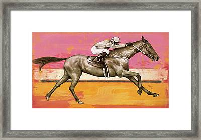 Racing Horse Stylised Pop Art Drawing Potrait Poser Framed Print