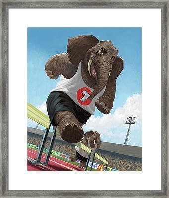 Racing Running Elephants In Athletic Stadium Framed Print by Martin Davey