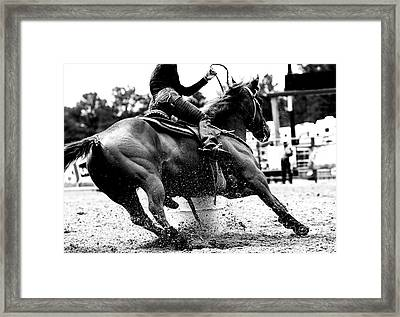Racing The Barrels Framed Print