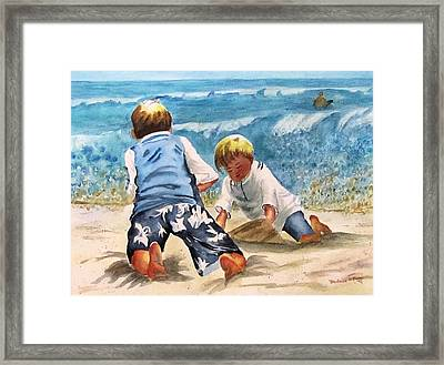 Racing The Tide Framed Print by Barbara Jung