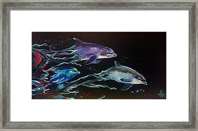 Racing The Waves Framed Print by Marco Antonio Aguilar