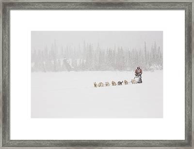Racing Through The Falling Snow Framed Print