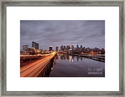 Racing To The Big City - Philadelphia Framed Print by Mark Ayzenberg