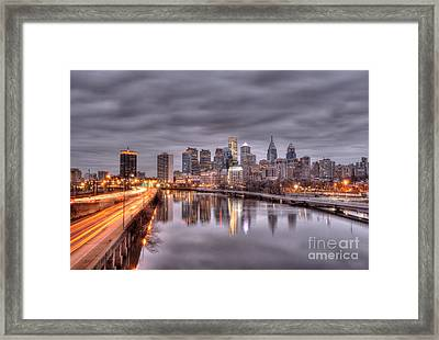 Racing To The City Lights - Philly Framed Print