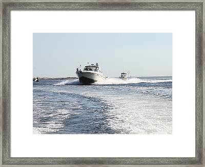 Racing To The Docks Framed Print by John Telfer