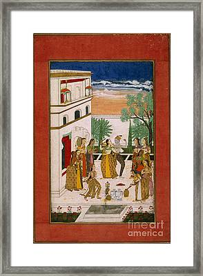Radha & Krishna Dancing Framed Print by British Library