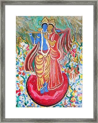 Framed Print featuring the painting Radha And Krishna by Anand Swaroop Manchiraju