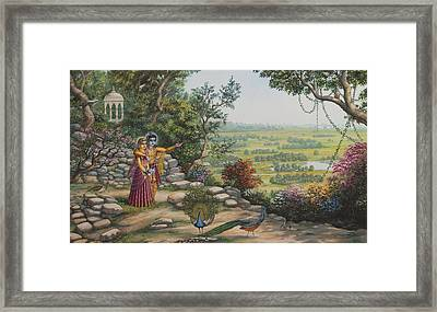 Radha And Krishna On Govardhan Framed Print by Vrindavan Das