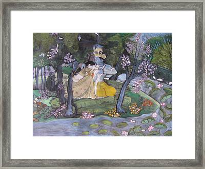 Framed Print featuring the painting Radha And Krishna by Vikram Singh