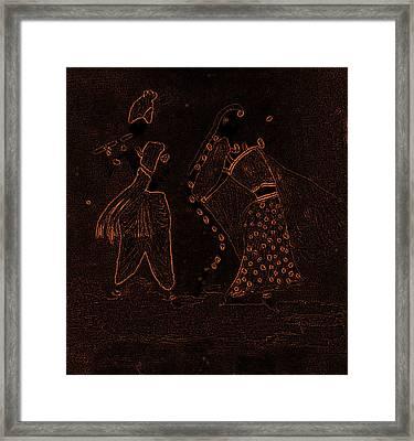 Radha Krishna Dancing Framed Print