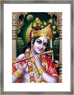 Radha Krishna Idol Hinduism Religion Religious Spiritual Yoga Meditation Deco Navinjoshi  Rights Man Framed Print by Navin Joshi