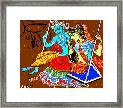 Radha Krishna On A Swing-13 Framed Print by Anand Swaroop Manchiraju