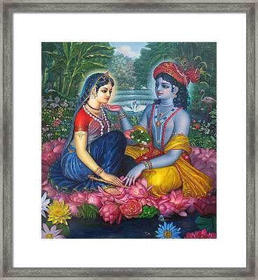 Radha Krishna On Lotuses Framed Print