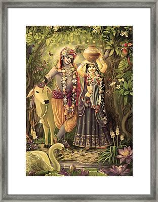 Radha-krishna Radhakunda 2 Framed Print by Lila Shravani