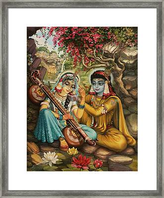 Radha Playing Vina Framed Print by Vrindavan Das