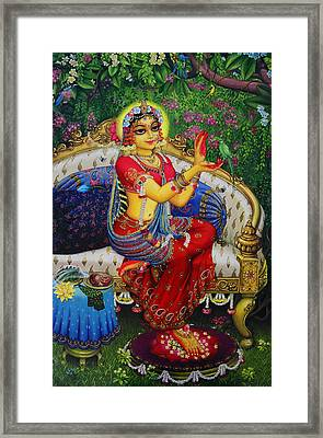 Radha With Parrot Framed Print