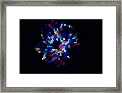 Radial Mosaic In Red White And Blue Framed Print