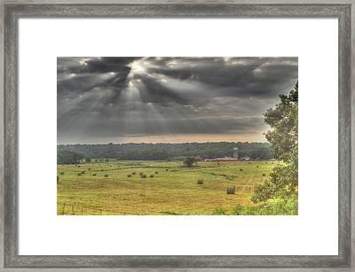Radiance Over The Farm Framed Print by Douglas Barnett