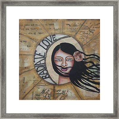 Radiate Love Inspirational Mixed Media Folk Art Framed Print