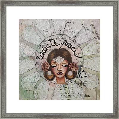 Radiate Peace Inspirational Mixed Media Folk Art  Framed Print