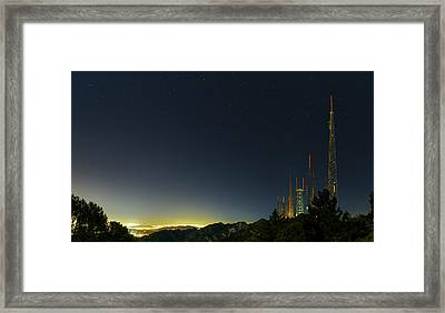 Radio And Tv Masts Framed Print by Babak Tafreshi