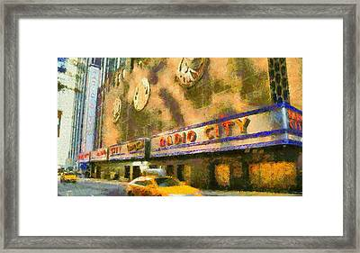 Radio City Music Hall And Taxis Framed Print by Dan Sproul
