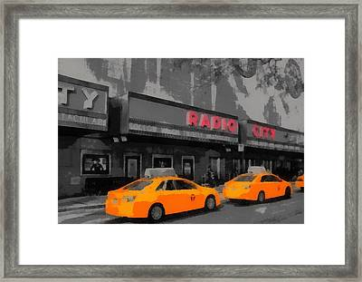 Radio City Music Hall And Taxis Pop Art Framed Print