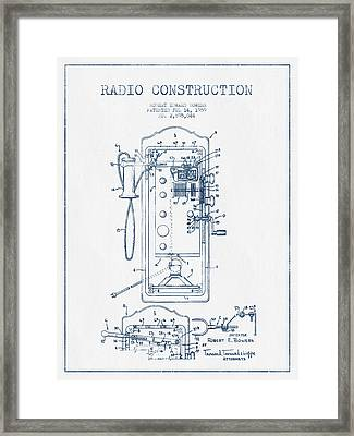 Radio Constuction Patent Drawing From 1959 - Blue Ink Framed Print