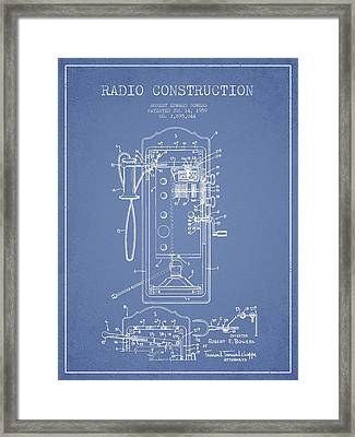 Radio Constuction Patent Drawing From 1959 - Light Blue Framed Print