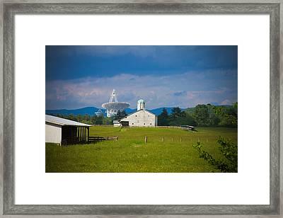 Radio Telescope At The Farm Framed Print by Daniel Houghton