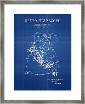 Radio Telescope Patent From 1968 - Blueprint Framed Print by Aged Pixel