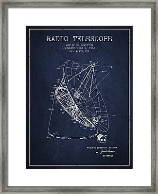 Radio Telescope Patent From 1968 - Navy Blue Framed Print by Aged Pixel