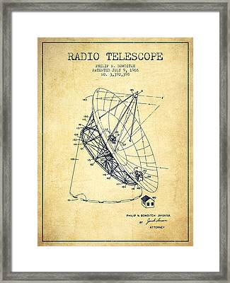 Radio Telescope Patent From 1968 - Vintage Framed Print by Aged Pixel