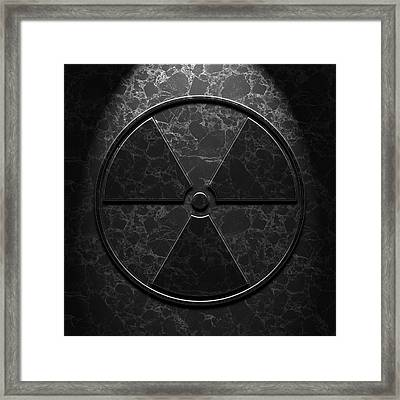 Framed Print featuring the digital art Radioactive Symbol Black Marble Texture by Brian Carson