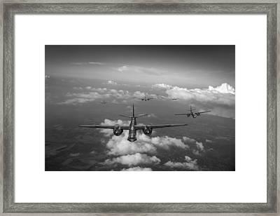 Raf Bostons At Medium Altitude Black And White Version Framed Print by Gary Eason