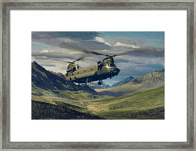 Raf Chinook Ch-47 On Exercise Framed Print by Nop Briex