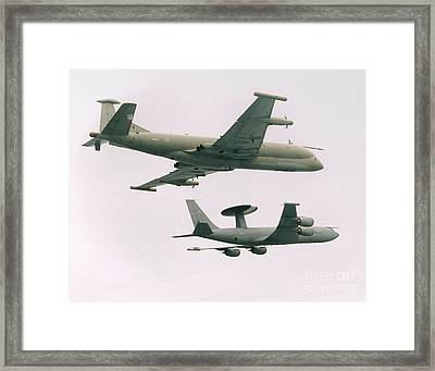 Framed Print featuring the photograph Raf Nimrod And Awac Aircraft by Paul Fearn