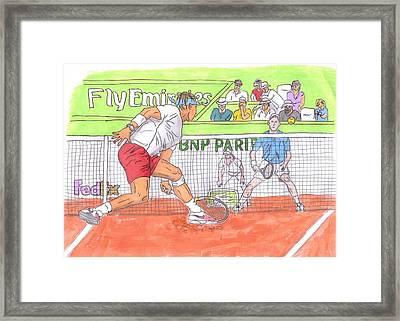 Rafa Vs. Novak Framed Print by Steven White