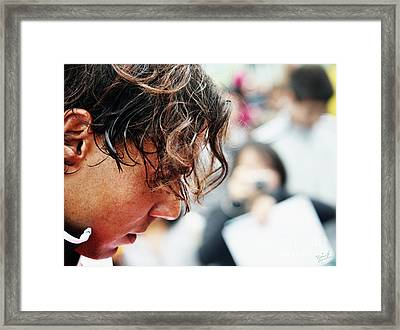 Rafael Nadal From Up Close Framed Print by Nishanth Gopinathan