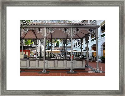Raffles Hotel Courtyard Bar And Restaurant Singapore Framed Print by Imran Ahmed