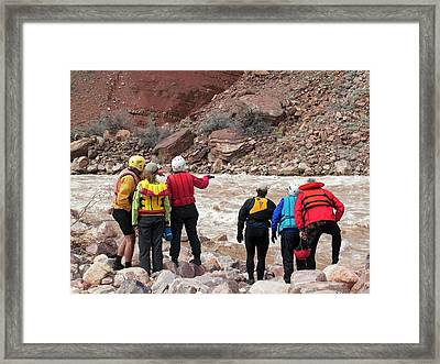 Rafters Scouting Rapids Framed Print by Jim West
