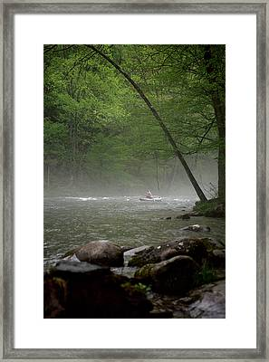 Rafting Misty River Framed Print by Lawrence Boothby