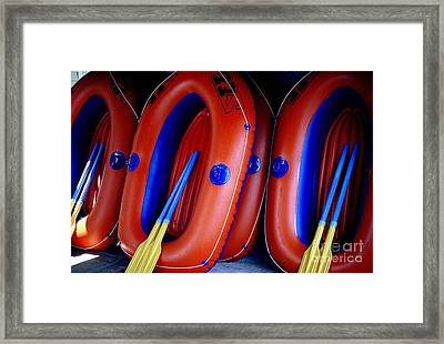 Framed Print featuring the photograph Rafts Waiting by Ranjini Kandasamy